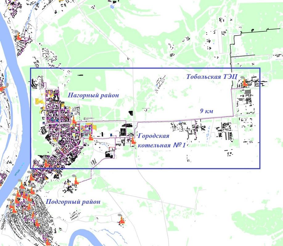 Рис.1. Электронная модель системы теплоснабжения города Тобольска разработана в геоинформационной системе ZuluGIS.
